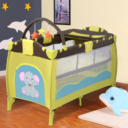 Costway New Green Baby Crib Playpen Playard Pack Travel Infant Bassinet Bed Foldable
