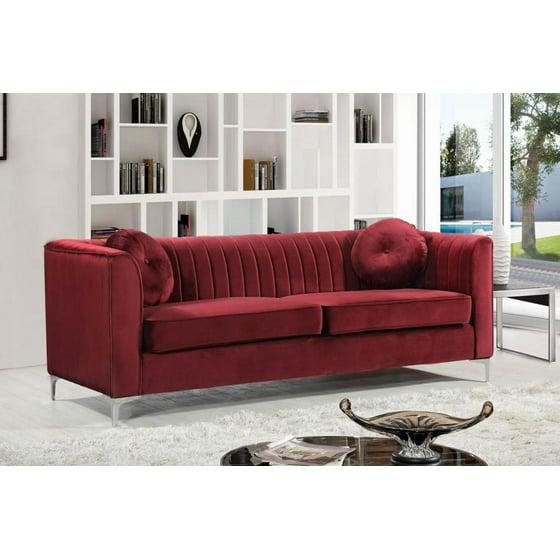 Meridian 612 Isabelle 2pcs Living Room Set in Burgundy Velvet Contemporary  Style
