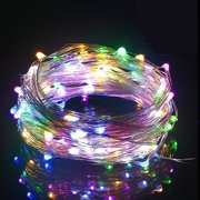 QISHI Outdoor String Lights 100LED 33Ft Battery Operated LED Rope Lights with Remote Indoor Timer Fairy Lights for Patio Easter Christmas Party Multi Color