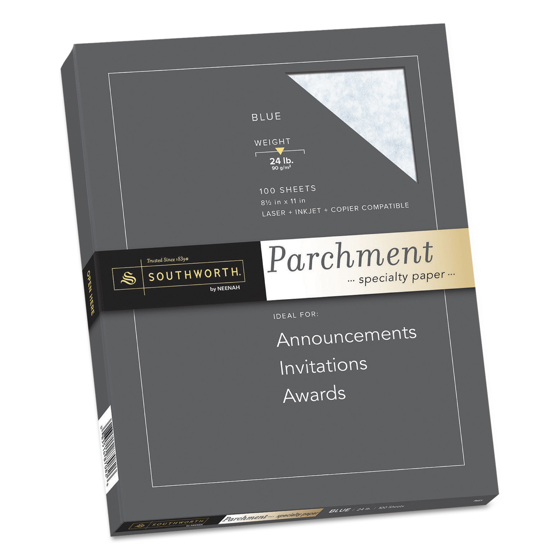 Southworth Parchment Specialty Paper, Blue, 24lb, 8 1/2 x 11, 100 Sheets -SOUP964CK336