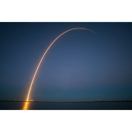 Laminated Poster Spacex Rocket Launch Lift Off Trajectory Night Poster Print 24 X 36