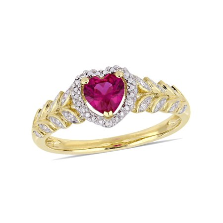 3/5 Carat (ctw) Lab Created Ruby Promise Heart Ring in 10K Yellow Gold with Diamonds