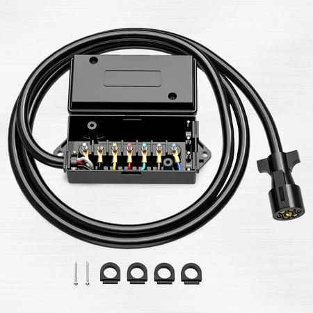 Heavy Duty 7 Way Plug Inline Trailer Cord with 7 Gang Junction Box - 8 Feet, Weatherproof