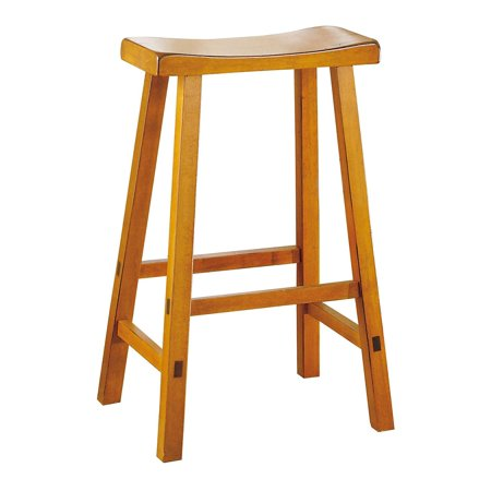 Wooden 29 Quot Counter Height Stool With Saddle Seat Oak