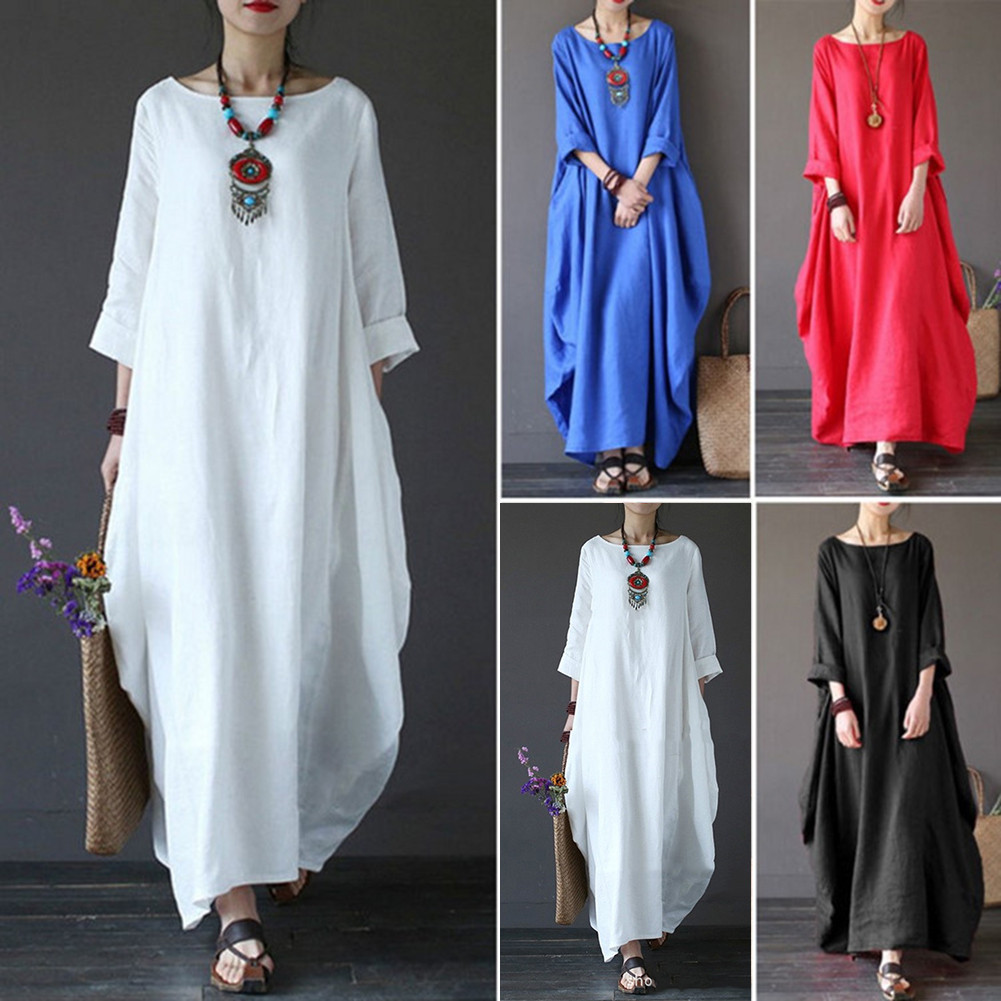 Women Long Maxi Dress Plus Size Beach Holiday Loose Casual Summer Dress