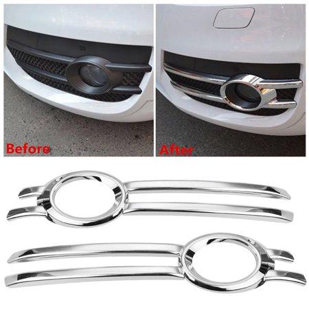 2Pcs Chrome Front Fog Bumper Grill Light Cover Trim Bezel Frame Garnish For Q5 2009-2012 (Chrome Bumper Garnish)