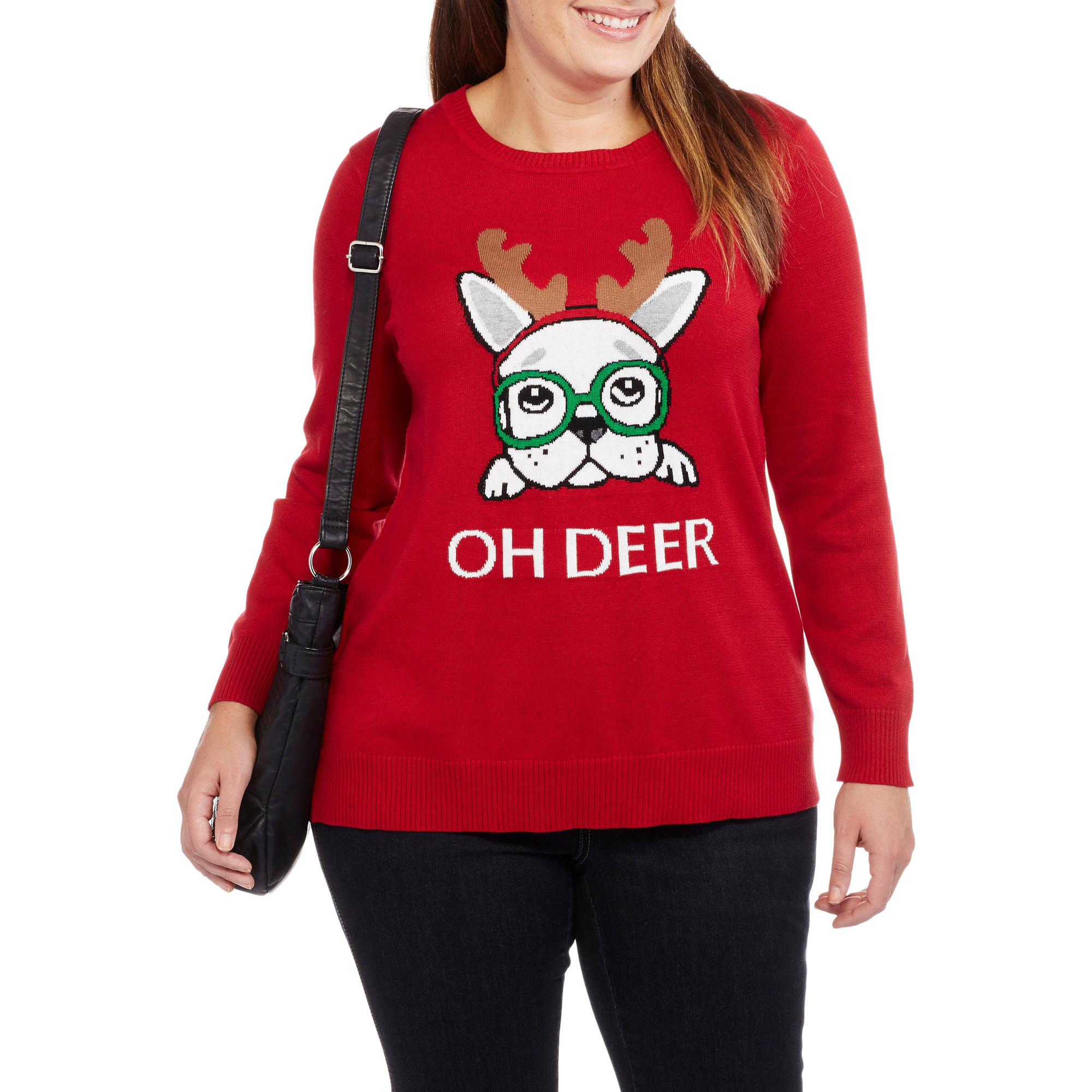 Holiday Women's Plus Oh Deer Dog Pullover Christmas Sweater