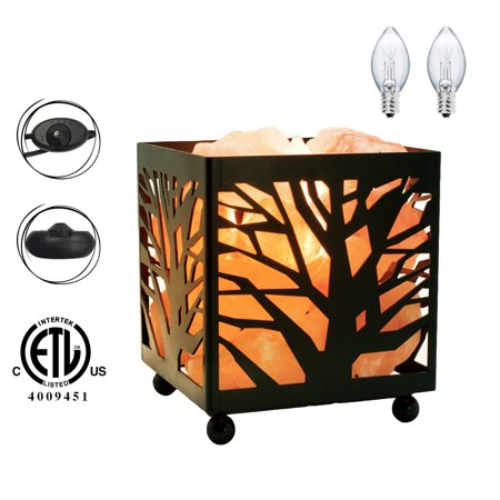 Himalayan Glow Tree Design Basket Lamp Night Light with Salt Chunks