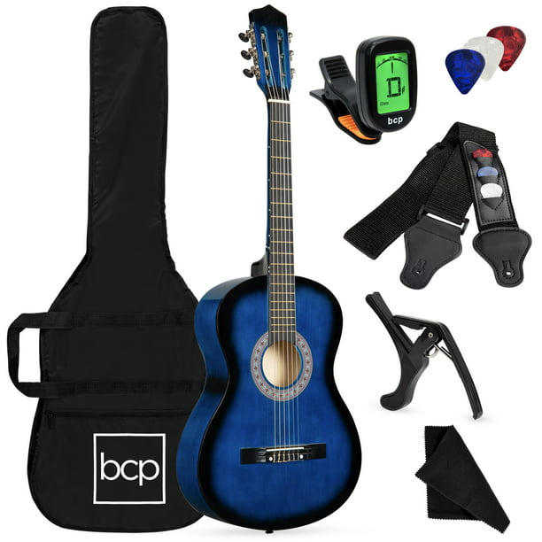 Best Choice Products 38in Beginner Acoustic Guitar Starter Kit W Case Strap Digital Tuner Pick Strings Blueburst Walmart Com Walmart Com