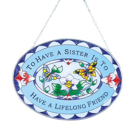 Sisters Suncatcher Outdoor or Indoor Decoration - Stained Glass Colorful Accents ()