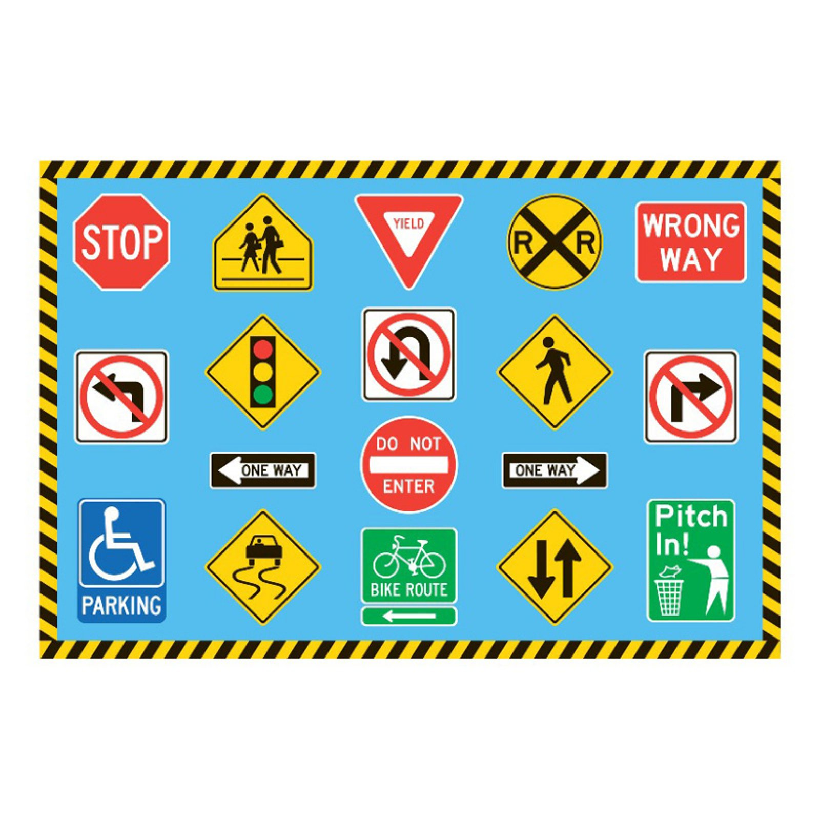 Fun Rugs Traffic Signs Kids' Rug, Blue
