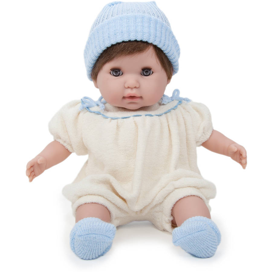 """JC Toys - Berenguer Boutique Nonis 15""""  Soft Body Play Doll in Cream Knit Romper with Brown Hair and Blue Sleeping Eyes"""