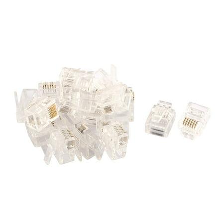 20pcs rj12 6p6c modular plug network crimp ethernet cord wire adapter connector. Black Bedroom Furniture Sets. Home Design Ideas