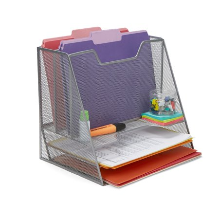Compartment Desk Organizer - Mind Reader 5 Compartment Mesh Desk Storage Organizer, Silver