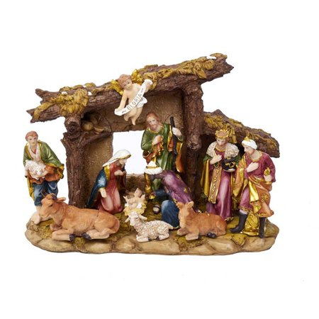 Kurt Adler Resin Nativity Set with Figures and Stable - 11-Piece Set for $<!---->