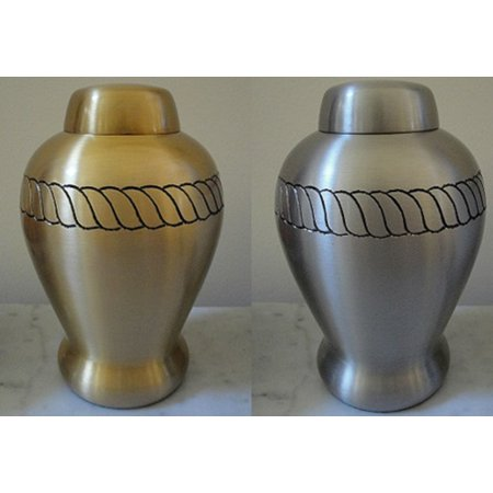 One Pewter Finish and One Bronze Finish Brass Cremation Urn for dogs cats or exotic pets -30 lbs. or less- with rope design