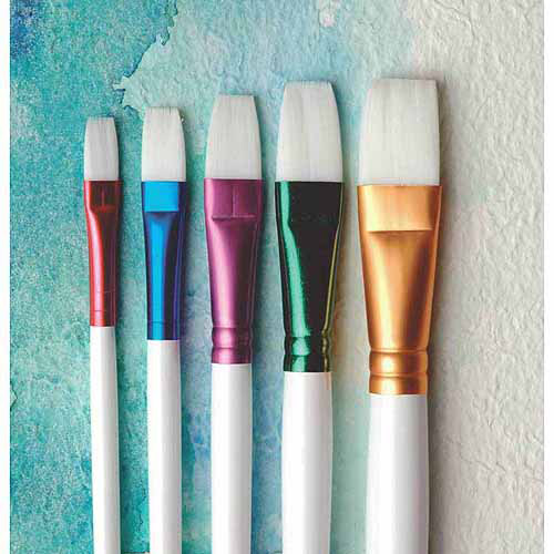 Sax True Flow Spectrum Watercolor Brushes, Assorted Flat Sizes, 5pk
