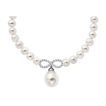 Diamond Infinity with Freshwater Cultural Pearl Necklace in 14K White Gold 0.50 ct tgw 17 Inch - image 1 of 2