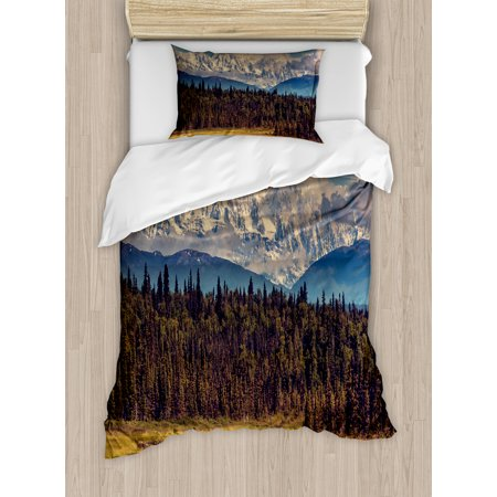 Alaska Twin Size Duvet Cover Set, Colorful Summer Season in Northwest America Snow White Mountains River Fresh Forest, Decorative 2 Piece Bedding Set with 1 Pillow Sham, Multicolor, by Ambesonne