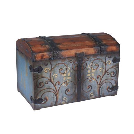 Body Trunk - Household Essentials 9502-1 Vintage Wood Storage Trunk, Large, Blue Body/Brown L