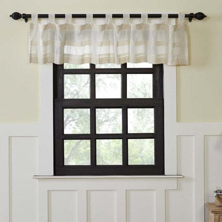 Creme White Farmhouse Kitchen Curtains Quinn Tab Top Cotton Lace Sheer Solid Color 16x72 Valance
