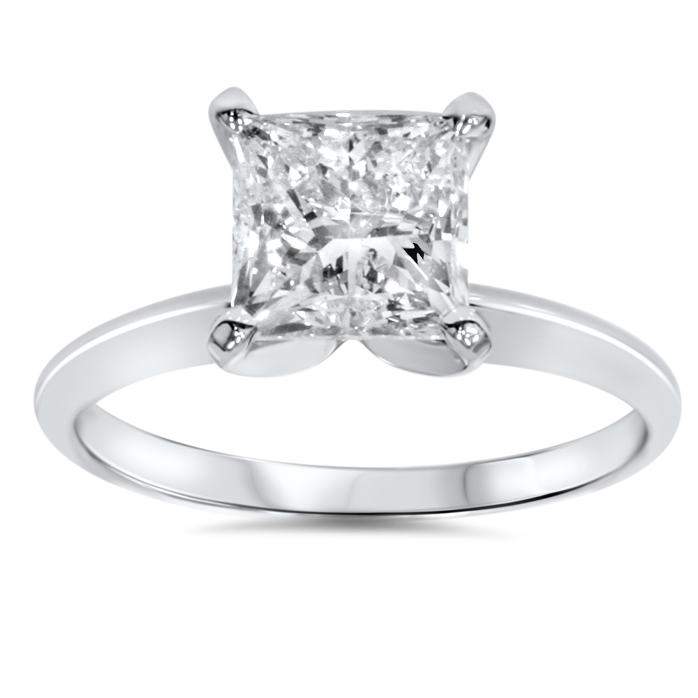 1ct Solitaire Princess Cut Diamond Engagement Ring 14K White Gold by Pompeii3