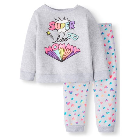 Fleece Sweatshirt & Printed Sweatpants, 2pc Outfit Set (Toddler Girls) for $<!---->