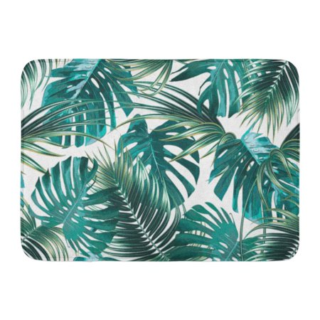 KDAGR Green Tropic Tropical Palm Leaves Jungle Leaf Floral Pattern Plant Painting Doormat Floor Rug Bath Mat 23.6x15.7 inch](Jungle Leaf)