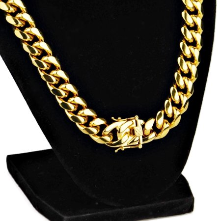 """Mens 24K Gold Plated 24"""" Inch Chain Stainless Steel 14MM Wide Cuban Link Silver Heavy Hip Hop Jewelry Necklace"""