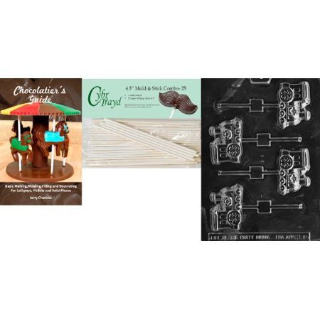 Cybrtrayd 'X-Mas Engine Pop' Christmas Chocolate Candy Mold with 25 4.5-Inch Lollipop Sticks and Chocolatier's Guide