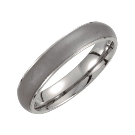 Titanium 5mm Ridged Dome Size 9 Band with Oxidized Center - Size