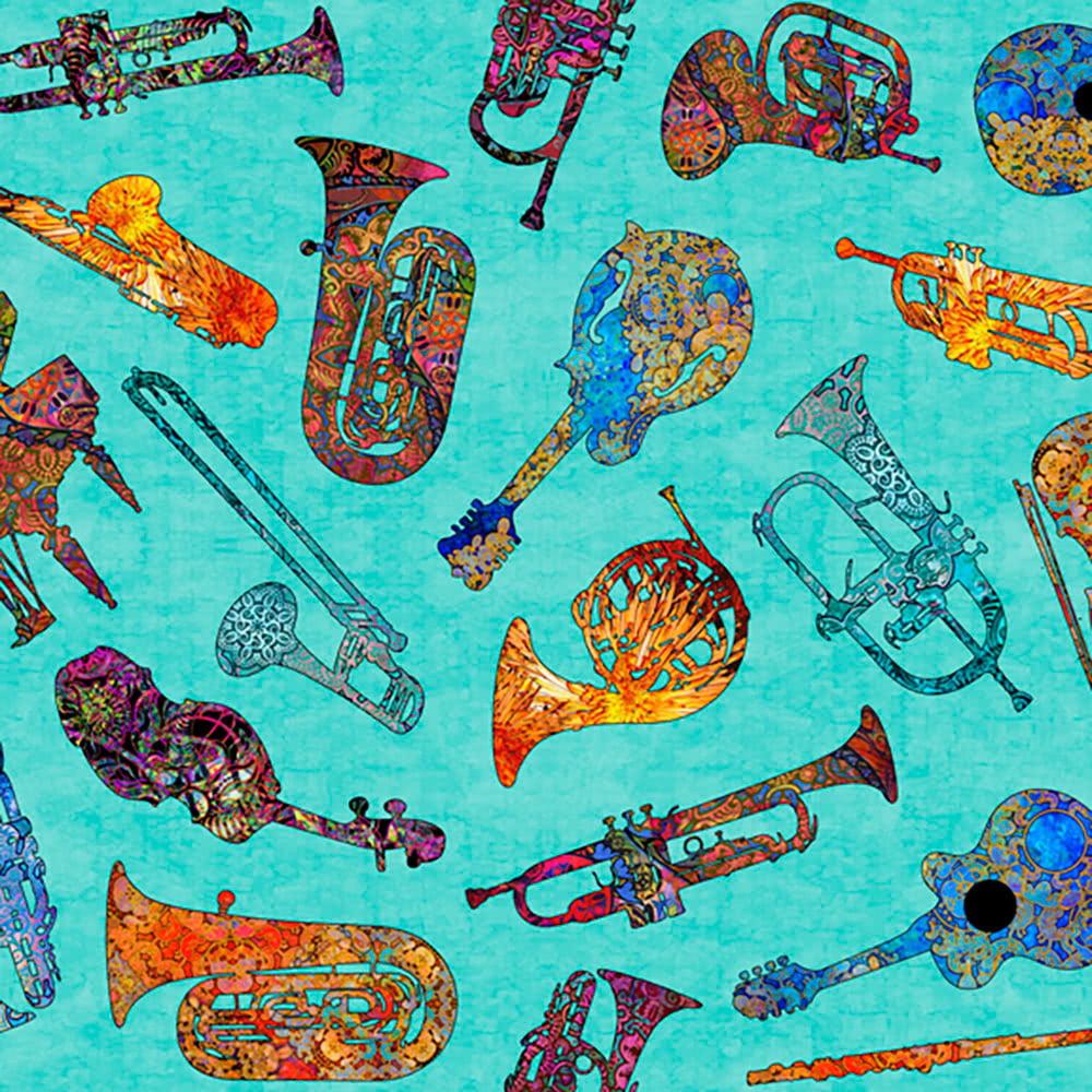 Quilting Treasures Fine Tuning by Dan Morris Batik Instruments Aqua