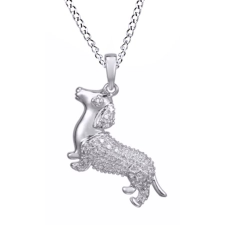 Natural Diamond Accent Dachshund Pendant Necklace In 14K White Gold Over Sterling - Dachshund Pendant