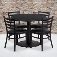 Flash Furniture 36'' Round Black Laminate Table Set with Round Base and 4 Ladder Back Metal Chairs - Black Vinyl Seat