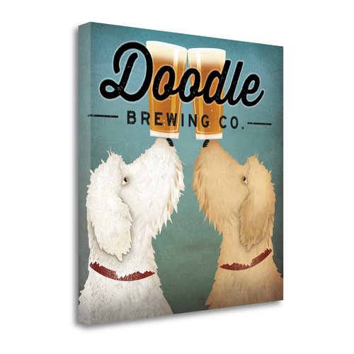 Tangletown Fine Art 'Doodle Beer Double' by Ryan Fowler Graphic Art on Wrapped Canvas