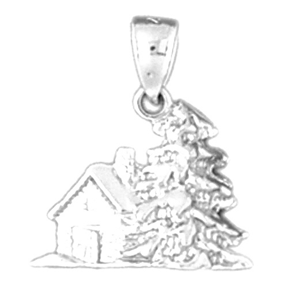 Sterling Silver 3-D Christmas Tree Pendant - 19 mm (Approx. 2.89 grams)