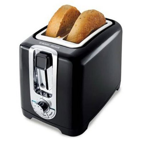 BLACK+DECKER TR1256B 2-Slice Toaster with Bagel Function, Black/Stainless Steel