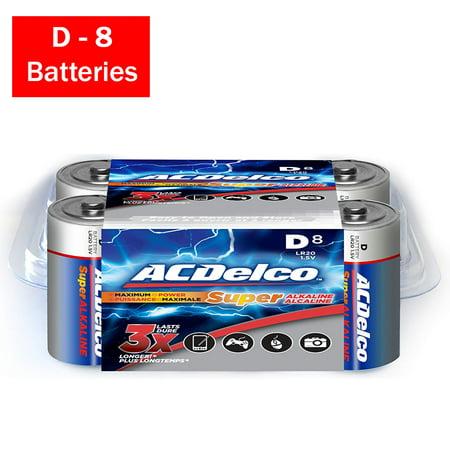 ACDelco D Cell Batteries, Super Alkaline D Battery, (Ac Delco Batteries)