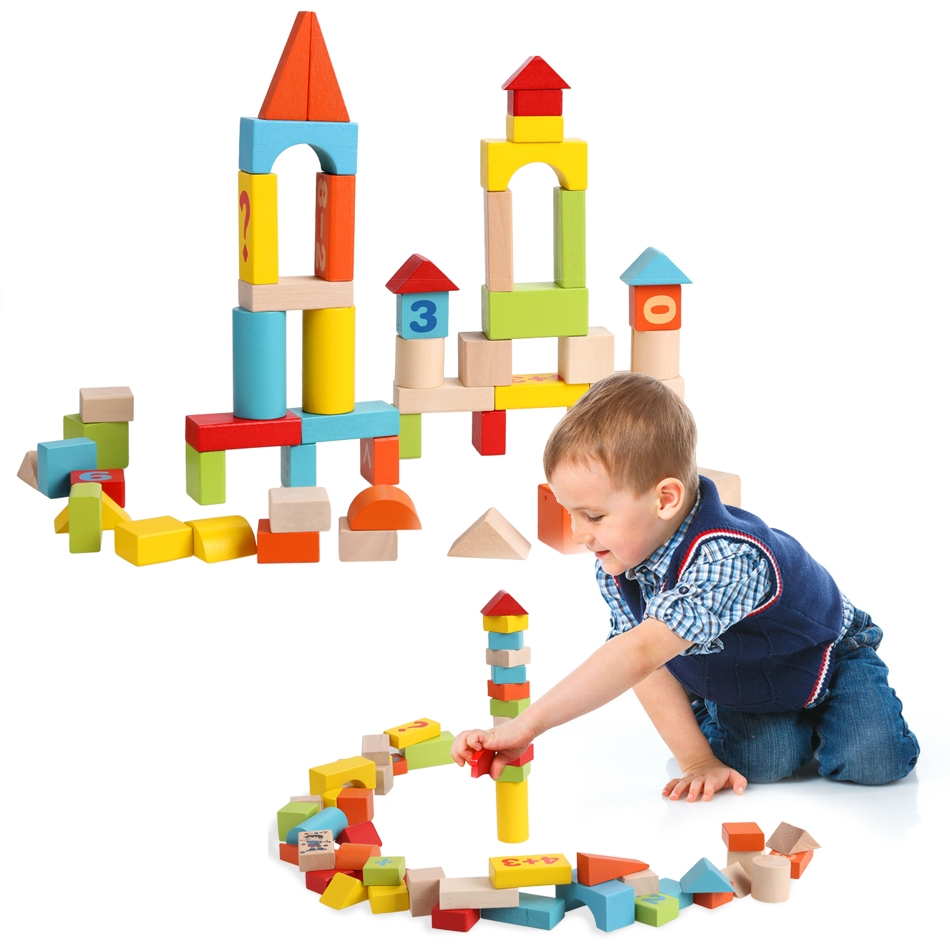 52 PCS Colorful Wooden Digital Building Learning Baby Block Educational Set Toys HITC