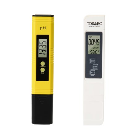 Digital 4 In 1 TDS PH EC Temperature Meter Kit 0-9999us/cm Electrical Conductivity 0.01PH Resolution for Household Drinking Water, Hydroponics, Aquariums, Swimming