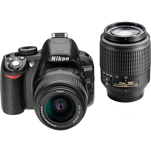 nikon black d3100 digital slr camera with 14.2 megapixels
