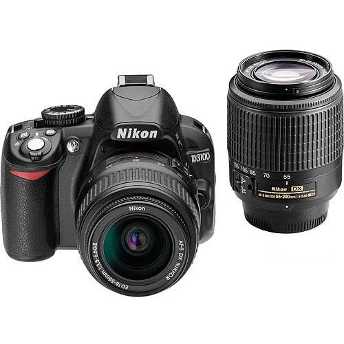 Nikon Black D3100 Digital SLR Camera with 14.2 Megapixels Kit, Includes 2 Lenses (AF-S DX Non-VR Nikkor 18-55mm and 55-200mm)