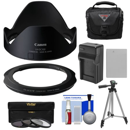 Canon LH-DC100 Lens Hood & FA-DC67B Filter Adapter for PowerShot G3 X with 3 UV/CPL/ND8 Filters + Battery & Charger + Case + Tripod + Kit