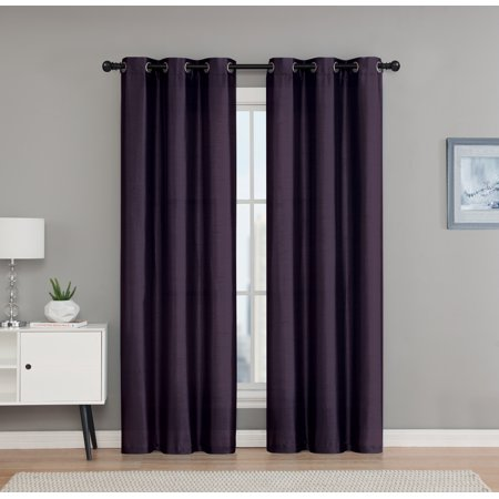 2 Pack: VCNY Home Madison Collection Semi Sheer Grommet Top Curtains - Plum, 84 in. Long