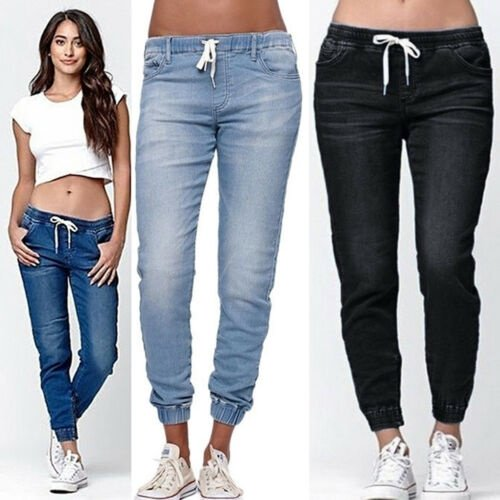 Plu Size Womens Elastic Waist Pencil Stretch Denim Skinny Drawstring Jeans Pants Trousers