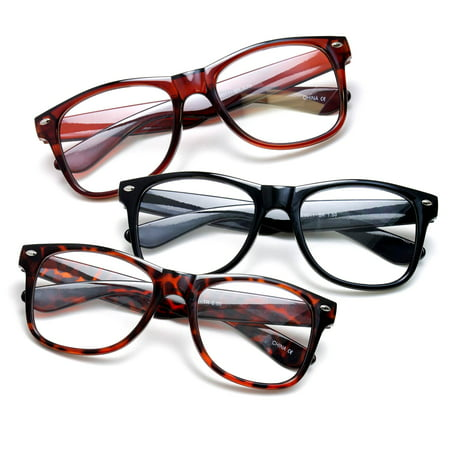 3 Pack Oversize Large Vintage Style Comfortable Stylish Simple Reading Glasses, Black, Brown, Tortoise +1.00