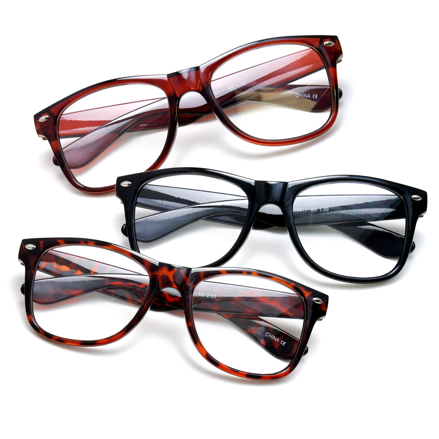 3 Pack Vintage Style Comfortable Stylish Simple Reading Glasses, Black, Brown, Tortoise +3.50