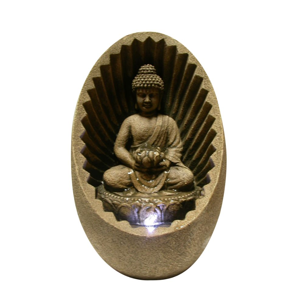 Buddha Tabletop Fountain With Led Light by Benzara