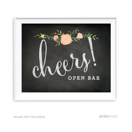 Open Bar Cheers! Chalkboard & Floral Roses Wedding Party Signs](Open Bar Wedding)