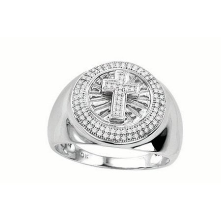 10K White Gold 0 33Cttw Cross On The Center Baguette And Round Diamond Mens Micro Pave Ring